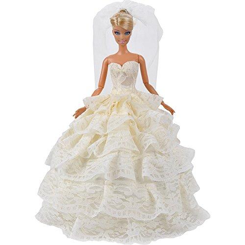 E-TING Prinzessin Party-Kleid Hochzeit Kleid Puppenkleidung mit Schleier für Barbie-Puppen
