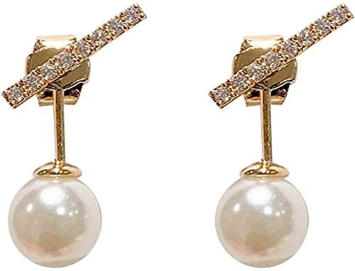 OUHUI Pendientes Redondos de Perlas de Simulación para Mujer, Pendientes de Perlas Simples, Joyería de Moda para Mujer Decoraciones / 1