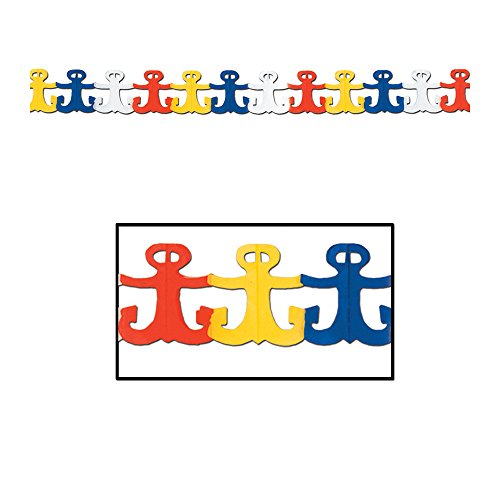 Beistle 55498 Colorful Anchor Nautical Party Garland Decoration, Paper, Multicolor
