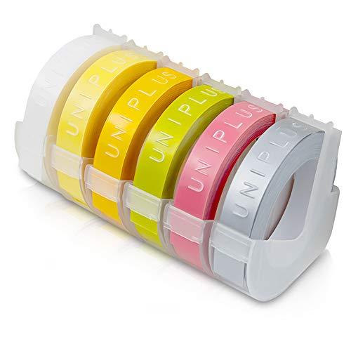UniPlus 3D Nastro Etichette Autoadesive a Rilievo in Vinile, 9 mm x 3 m Compatibile Dymo Embossing Tape S0847750 3D Plastica Nastro Etichette Rilievo per Dymo Junior Omega Etichettatrici, 6 Pack