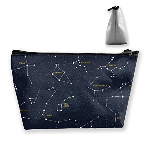 Premium Trapez-Aufbewahrungs-Organizer-Tasche Tragbare Kulturtasche Make-up-Kosmetiktasche Reise-Kultur-Clutch-Tasche mit Reißverschluss (Sternbild)