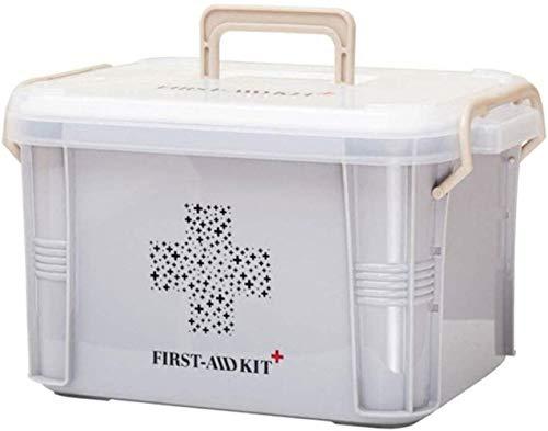 Aranticy Medizinbox Plastik Medizinkoffer Abschließbar 2 Schichten Erste Hilfe Koffer Hausapotheke Medizin-Box Aufbewahrungsbox mit Griff First Aid Box Case Küche Schlafzimmer-10.4x7.3x5.7inch