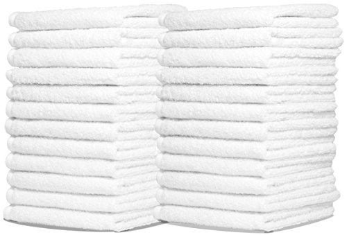 Wash Cloth Towels by Royal, 48-Pack, 100% Natural Cotton, 12 x 12, Commercial Grade, Appropriate for use in Bathroom, Kitchen, Nursery and for Cleaning, Soft and Absorbent, Machine Washable, White