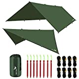 Rottay Waterproof Camping Tarp, Multifunctional Tent Footprint for Camping, Sunshade, Hiking, Survival Gear, Lightweight and Backpacking Approved