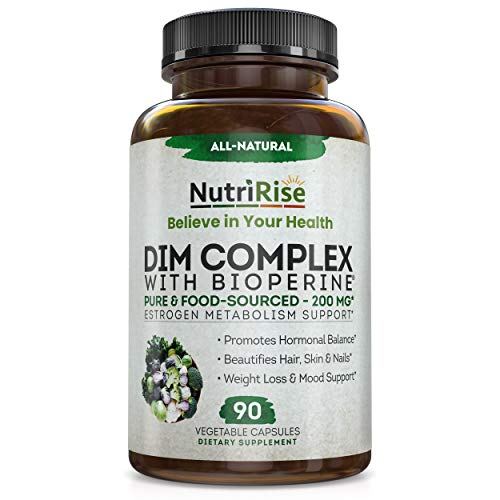 DIM Supplement + Bioperine 200mg - 90 Capsules. Estrogen Balance For Men & Women - Supports Menopause Relief, PCOS & Cortisol Management, Acne, Mood & Weight Loss - Energy, Libido & Metabolism Booster