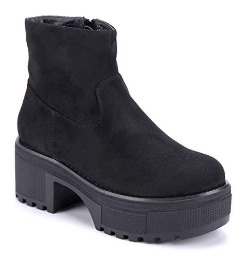 Schuhtempel24 Damen Schuhe Plateau Stiefeletten Stiefel Boots schwarz Blockabsatz 7 cm
