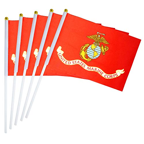 LoveVC US Marine Corps Flag Small Mini Military Stick Flags,25 Pack