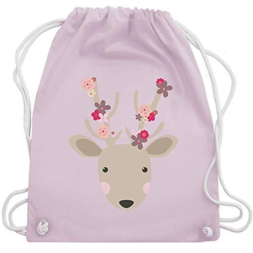 Shirtracer Oktoberfest Kind - Süßer Hirsch - Frühlingstiere mit Blumen - Unisize - Pastell Rosa - rucksack maedchen laessig - WM110 - Turnbeutel und Stoffbeutel aus Baumwolle