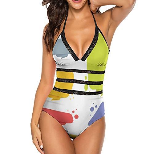 Sexy Bikini Traje de baño de una Pieza para Mujer, Top de Bikini Negro con Cuello Halter Ajustable para Mujer, Estilo de Origami Colorido (Talla M)
