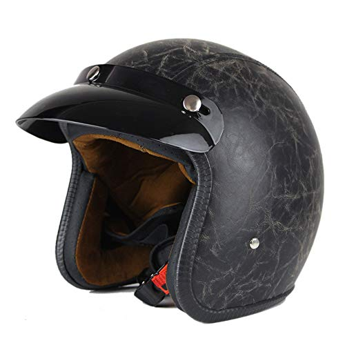 Woljay 3/4 Offener Sturzhelm, Leder Helmet Motorrad-Helm Jet-Helm Scooter-Helm Vespa-Helm Halbhelme Motorrad Helm Flat Schwarz (L)