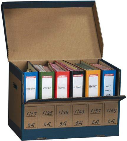 Pressel Archivbox, für 6 Ordner, mit Klappe, 52,5 x 31 x 33,5 cm, braun/blau