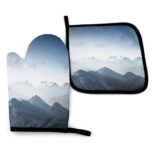 Niebla escénica por la mañana en la región de Rock Mountain en el norte, senderismo, escalada, hielo, foto, horno, manoplas y porta ollas, juegos de guantes de cocina resistentes al calor, 2 piezas pa