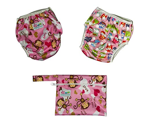 MARIPOSA | Bañador Pañal Bebé - Reutilizable Lavable y Ajustable - Pañales de Natación para Piscina y Mar para Niña de 0 a 2 Años - 2 pañales con funda impermeable (animales y mono)