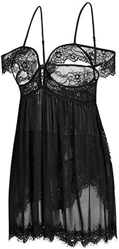 GLFERA Lencería Sexy para Mujer Babydoll Lace Chemise, arnés Lencería Falda de Encaje Ropa de Dormir Transparente Malla Chemise Boudoir Nighty Full Slips Nightwear-Negro(Size:XXL)
