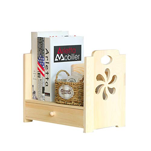 Sujetalibros Pequeño Estante de la estantería Solid Wood Desktop Bookshelf Creative Tallado Drawtop Footshelf para la Oficina y el Almacenamiento en el hogar Escuela, Estudio, Oficina (Color : A)