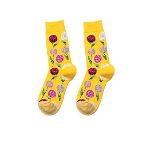 LILONGXI grappige sokken, mode mannen vrouwen ademende antibacteriële gele paardenbloem schilderij kunst sokken gedrukt herfst winter grappige casual katoen bemanning sokken Unisex(3st)