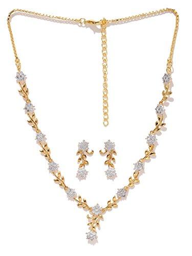 Zaveri Pearls Sparkling CZ Diamond with Leafy Design Necklace Set For Women - ZPFK5425