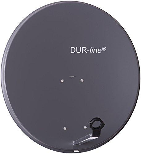 DUR-line MDA 80cm Anthrazit - Aluminium Satellitenschüssel mit LNB Feedhalterung - Sat Antenne Spiegel Anlage [Digital, Camping, Astra 19,2°, DVB-S/S2, Full HD, 4K, 3D]