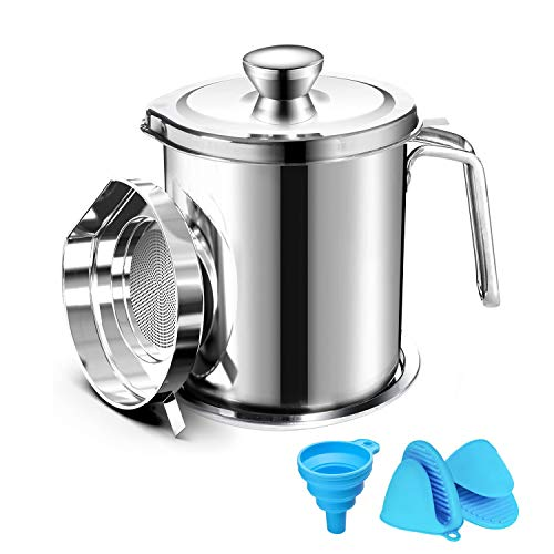Oil Strainer Pot Grease Can 2 L Stainless Steel Oil Storage Can Container with Fine Mesh Strainer Dust-Proof lid Non-Slip Plate Suitable for Storing Frying Oil and Cooking Grease