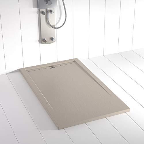Shower Online Receveur de douche en résine FLOW - 90x150 - Texture Ardoise - Antidérapant - Sable S 3005 Y 50R - Toutes les...