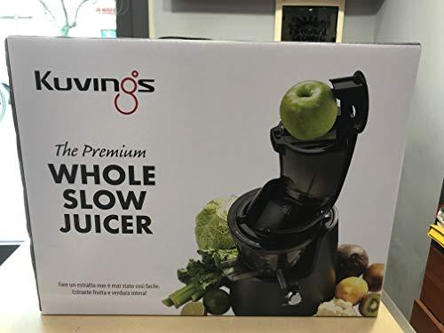 Kuvings C9820 Slow Juicer Sapcentrifuge voor fruit en groente – Sappers met XXL trechter voor eenvoudig vullen zonder hakselen. BPA-vrij. Kleur: wit C9820