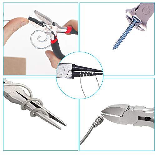 5 Piece Mini Pliers Set Professional Hand Tools Includes Needle Nose Pliers Lineman Pliers Round Nose Pliers Diagonal Cutting Pliers End-Cut Pliers