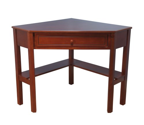 Target Marketing Systems Wood Corner Desk with One Drawer and One Storage Shelf, Cherry Finish