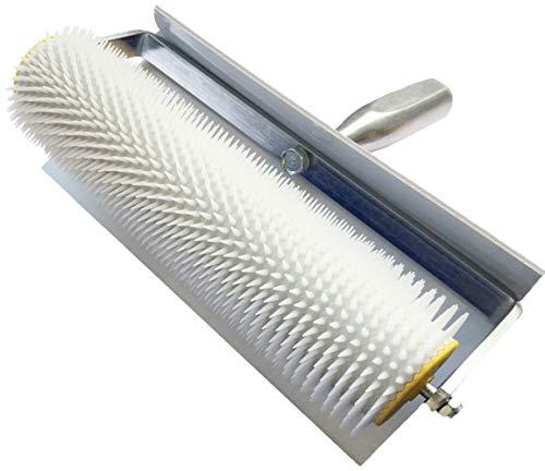Rouleau débulleur 25 cm 11 mm (pointes) Rouleau à pointes, 250 mm avec protection anti-éclaboussures en plastique blanc