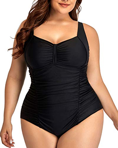 Daci Women Vintage Plus Size Swimsuits Tummy Control Ruched One Piece Bathing Suits Retro Swimwear Black 20W