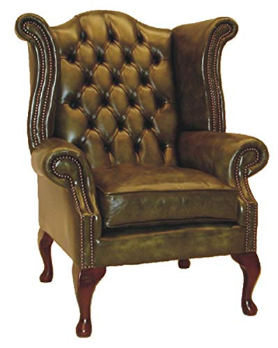 Casa Padrino Echtleder Sessel Vintage Grün Wohnzimmer Ohrensessel Möbel Leder Sessel