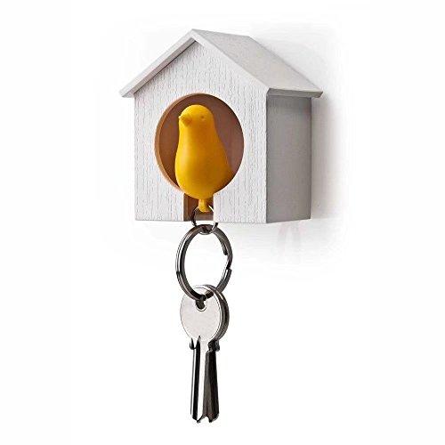 ricsung Schlüsselhalter + Vogel-Schlüsselring aus Holz, mit Pfeife, bunt, White House-Yellow Bird