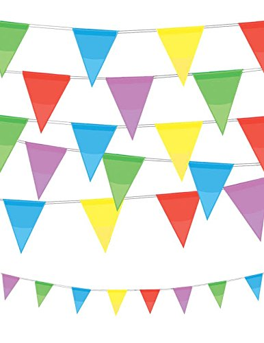 VALUE TWIN PACK Multi Colour Pennant Bunting Indoor/Outdoor Party Decoration Banner Total 22 Flags 26 Foot