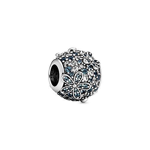 Pandora Aquamarin Pavé Gänseblümchen Charm, 1,2cm, Türkis