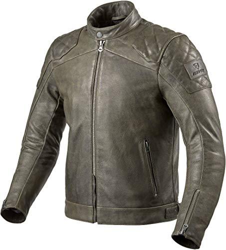 Revit Cordite - Chaqueta de piel para motocicleta, color verde oliva, talla 46