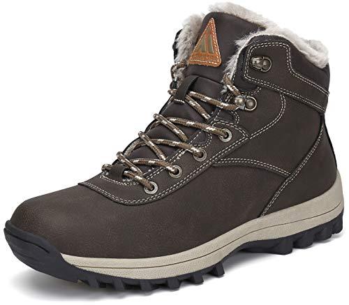 Mishansha Ocieplane buty zimowe męskie ciepłe buty zimowe damskie buty zimowe wodoszczelne buty śnieżne rozm. 36-48, brązowy - Pieczęć brązowa - 48 EU