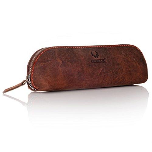 DONBOLSO® cartuchera Valencia de cuero estuche «vintage» para bolígrafos cartuchera colegio universidad pequeña marrón