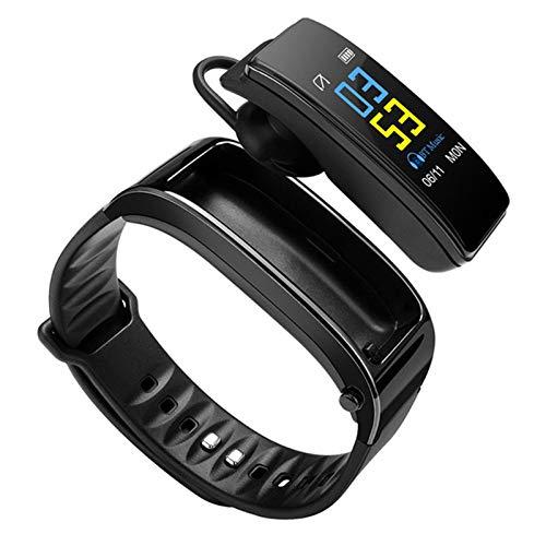 ZEIYUQI Pulsera Inteligente Compatible con Android,Bluetooth 4.1,Combinación De Auriculares con Pulsera De Llamada Inteligente,Recordatorio De Vibración,Podómetro Deportivo,Black