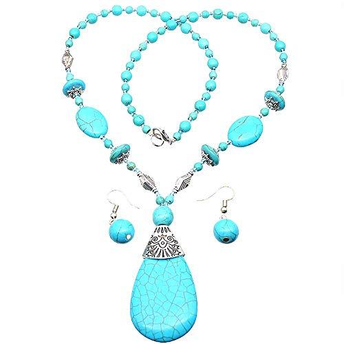HSQYJ Bohemia azul turquesa colgante largo collar con cuentas conjunto de pendientes con cuentas...