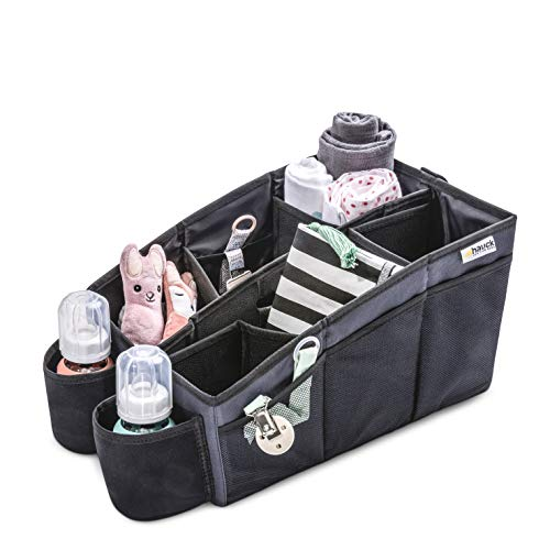 Hauck Organize Me, Auto Utensilientasche, Rückbank Organizer, Autobox, Kofferraumbox, Faltbox Tasche mit Griff, Grau - Box ohne Inhalt