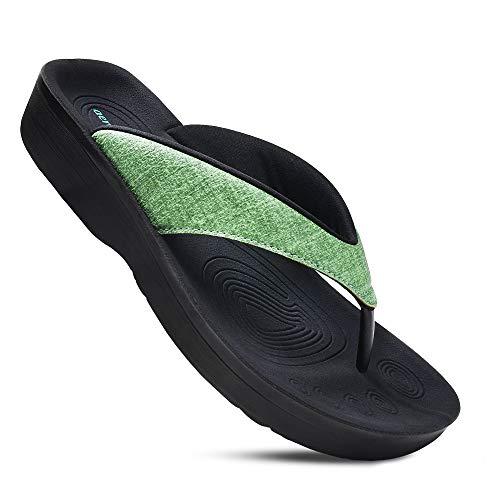 AEROTHOTIC Women#039s Comfortable Orthotic FlipFlops Sandal US Women 11 Mellow Green