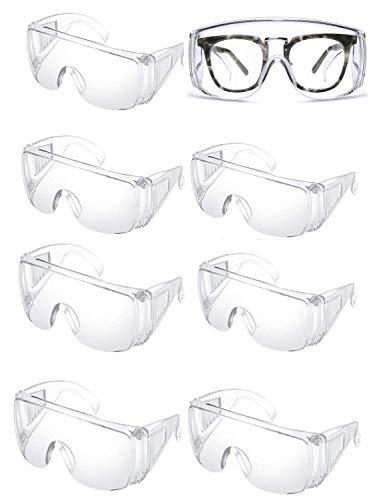 8 Par Gafas de Protección Seguridad Gafas de seguridad Cubregafas - Cómodo para Uso Diario con Ventilación Lateral Antivaho y Antipolvo Trabajo/Laboratorio/Industria/Agricultura