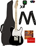 Fender Squier Affinity Series Telecaster Guitar - Maple Fingerboard, Black Bundle with Gig Bag, Tuner, Strap, Picks, and Austin Bazaar Instructional DVD