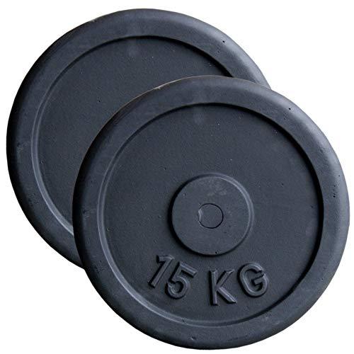 Discos de pesas (hierro fundido, 30 mm, 5, 10, 15 y 20 kg, 2 unidades de 15 kg)