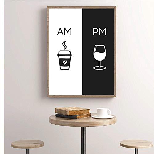 TeriliziAm Kaffee Pm Wein Zeichen Druck Küche Poster Home Wandkunst Dekor Kaffee & Wein Kunst Leinwand Malerei Wandbild Dekoration-30X40Cm Kein Rahmen