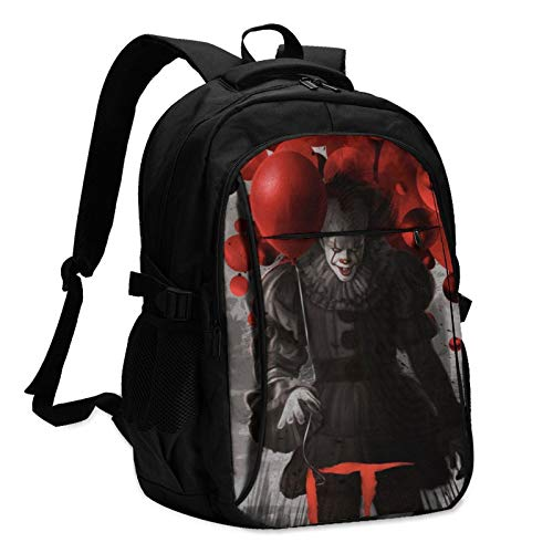 It Pennywise Laptop Backpack Anti Theft Water Resistant Durable Computer Bag USB Charging Port Fits 15.6 Inch Laptop and Notebook College School Business Travel