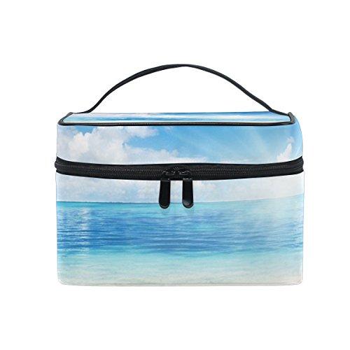 Ahomy Grand sac de maquillage avec poignée, plage et soleil blanc nuage et bleu ciel voyage sac de rangement organisateur de cosmétiques sac de rangement pour femme