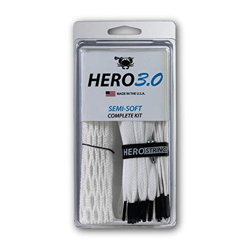 ECD Lacrosse Hero 3.0 Complete Kit Lacrosse Mesh and HeroStrings - Semi Soft - White