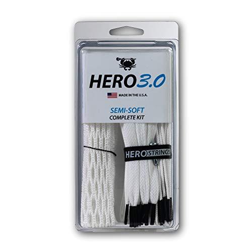 ECD Lacrosse Hero 3.0 Complete Kit Lacrosse Mesh and HeroStrings - Semi Soft - White