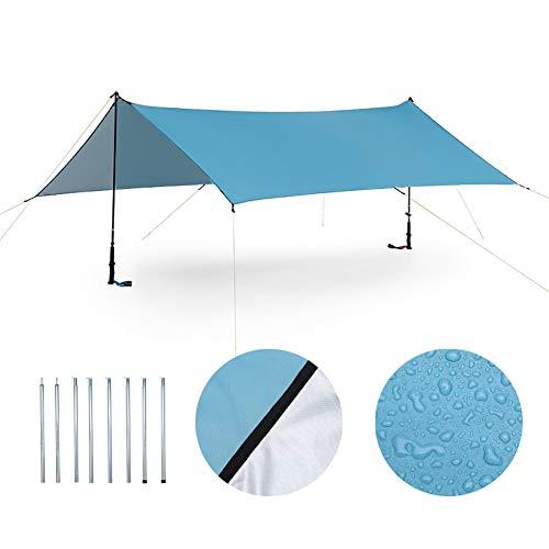 ENCOFT Sonnensegel Wasserdicht Rechteckig Sonnenschutz Block 95% UV Garten Balkon Schwimmbad Leichtgewicht Überdachung mit Seil Bodennagel Blau mit...