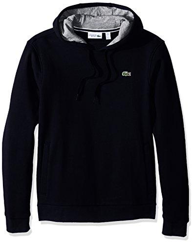 Lacoste Men's Sport Pull Over Hoodie Fleece Sweatshirt,navy blue/silver chine,X-Large